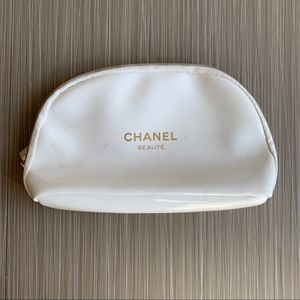Chanel White Small Cosmetic Beauty Bag
